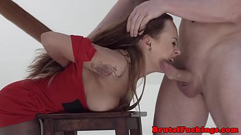 Roughly banged stepsister gagging on cock