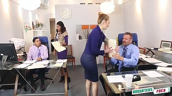 teens have group sex with their dads at their office in this perverted scene.