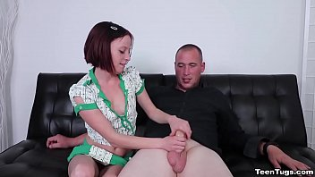 Watch Alyssa gives a handjob to a large cock on the bed wearing pajamas. preview