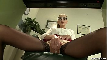 In medical office hot brunette slut Roxy Rox fucks machine in gyno chair then on the sofa fucks machine and vibrates pussy and squirts