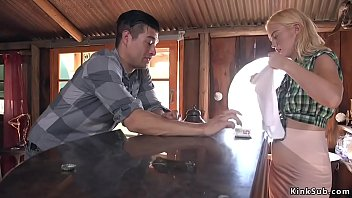 Watch Blonde beauty Chloe Cherry is maid in Saloon and some stranger tied up her while her hisband is out in mountains and fucked her preview