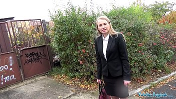Public Agent Russian blonde with small tits fucked outdoors in POV
