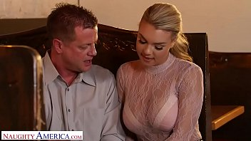 blonde busty babe fucks her father's friend at her work