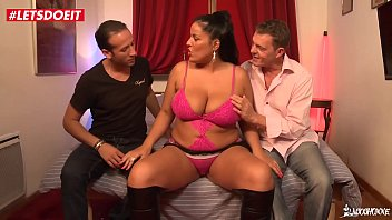 Chubby Brunette Double Penetrated by Two Neighbors - LETSDOEIT.COM