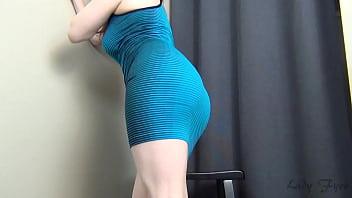 Beauty in blue dress solo cam