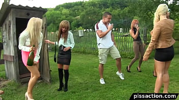 Guy has outdoor piss orgy with 5 euro babes Part 1