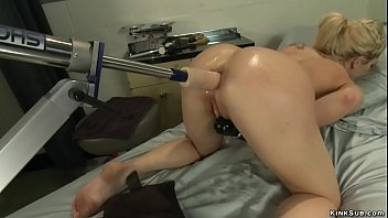 Sexy blonde nurse Dahlia Sky is anal queen and she strips in hospital and up her ass gets fucking machine then in wet pussy at gyno table