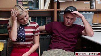 Blonde babe fucked by officer while partner on the side