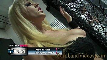 blonde slut Sophie Dee gives nasty sex punishment to battle loser