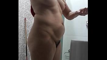 Wife leaving shower hidden