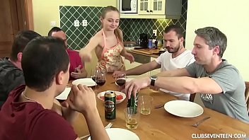 Watch a Teen Get Banged by Five Horny Guys