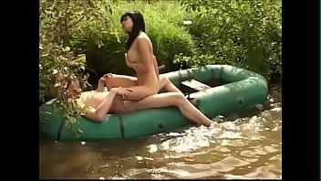 Gertie is walking nude outdoor and fucking fishman in his boat