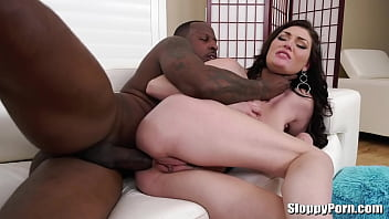 Big black cock anal fuck with a horny brunette