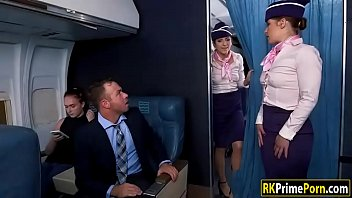 Flight attendant Nikki fucks passenger