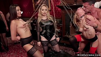 Hot servants in lingerie Jaye Summers and Sydney Cole sucking big dick then making to lick mistress Aiden Starr in different bondage positions