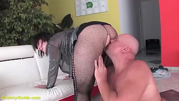 fat hairy 68 years old ugly grandma in hot fishnet bodystocking gets ass stretched and deep big cock fucked