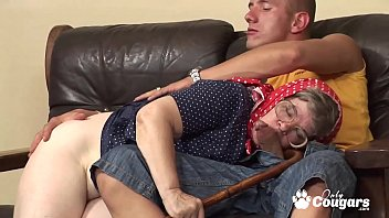 Slutty Grandma Sits Her Old Pussy Down On A Young Mans Boner