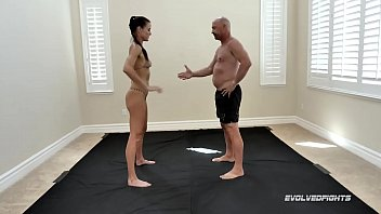 Sofie Marie nude mixed wrestling battle against Spike being fucked hard and rough at Evolved Fights