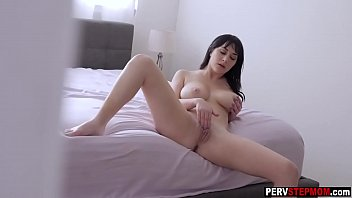 Nasty stepson spying his busty warm stepmom while she masturbated