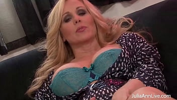 Big Titty Mamma Julia Ann finger fucks herself while nipple clamps pinch her milk buds, making herself cream that sweet cougar cunt! Full Video & Julia Live @ JuliaAnnLive.com!