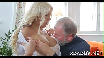 Sexy honey is fucking old man
