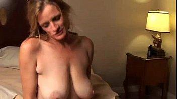 Mature cocksucker gets cum on boobs