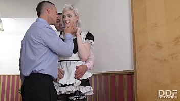 Horny British Maid gets Deepthroated and gagged Balls deep by 2 Cocks Thumbnail