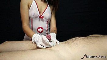 The young nurse took care of the patient and ate his sperm