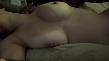 Asian girlfriend taking daddy's dick on the couch