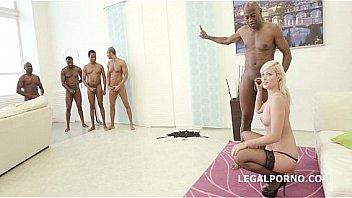 Tiny babe Ria Sun gets 5on1 interracial big black cock Double anal penetration