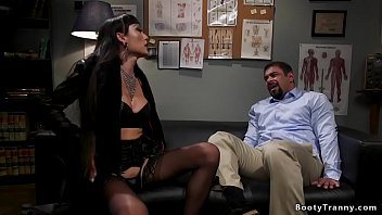 Watch Dark haired shemale dom Venus Lux spanks muscled man Draven Navarro with hands cuffed behind back otk then anal fucks him with big dick preview