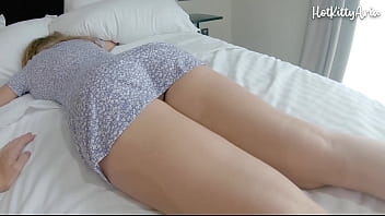 Young sister with big tits and big ass groped while sleeping, fucked and creampie