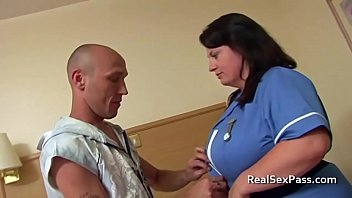 Nurse with huge natural breast takes anal from husbands friend