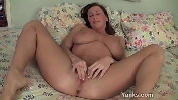Voluptuous chesty brunette babe from Yanks Cherry Lady masturbating her clit and cumming