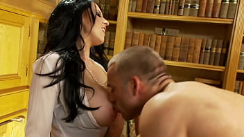 Busty Librarians Threeway. Big Boobs Babes in Fishnet Stockings, Garters & High Heels Blowing well-hung Stud. Double Cum Facial, Girls Kissing.