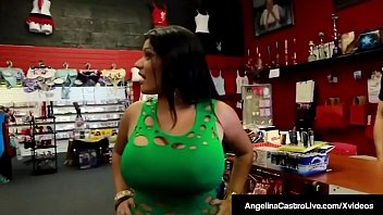 Massive Boobed Cuban BBW Angelina Castro visits an adult store & ends up fucking a lucky black clerk and his big black cock! This horny interracial encounter only gets better when the clerk jets his jizz all over her pretty face!