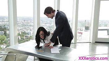 Office secretary cockriding her boss on desk