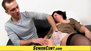 A student is spreading elder lady vagina featuring lady Tanya
