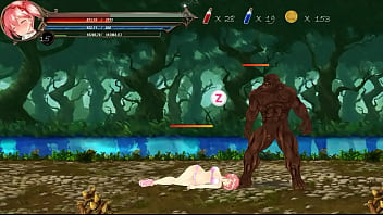 Pretty hot woman in sex with monster men in adult xxx game