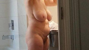 Spy on sexy naked grandma