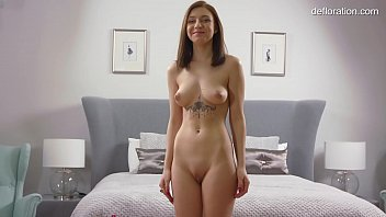 Wet virgin shaved pussy is being rubbed