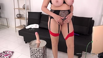 Hot blonde mature with huge tits gets off with her toy