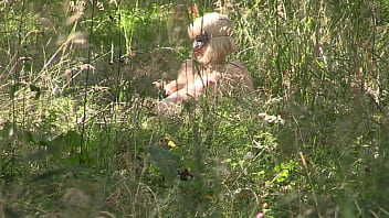 Voyeur looks out in nature as milf undresses and enjoys the forest Admiring the beauty of the female body in early pregnancy