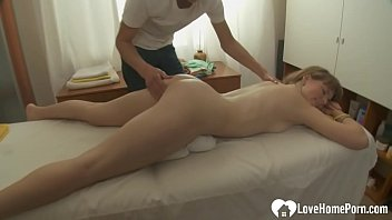 Teen gets massage and then a cock
