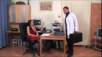 Bad doctor bangs his secretary in the medical office