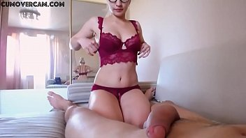 Girl in glasses fucks her boyfriend on a webcam - cumovercam . com