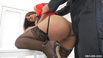 Bella has been fantasizing about her Mexican janitor and finally got a chance to play with his cock by taking it deep in her throat before getting her tight ass drilled hard!