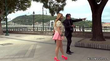 Big boobs blonde Isabella Clark in see through shirt and mini pink skirt butt plugged and gagged d. in public