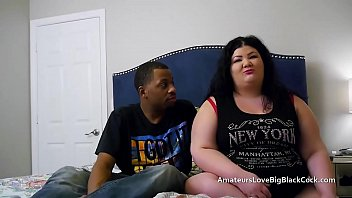 Supersized short fatty gets banged in turn by big black cocks