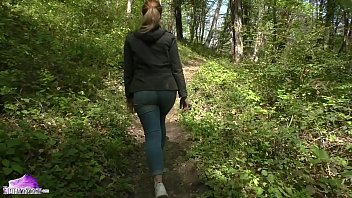 Girl Walking in Forest Decided Fingering - Publicly Undressed